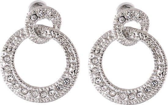 Ronde zilverkleurige oorbellen met glas steentjes