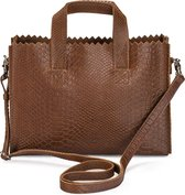 MYOMY My Paper Bag Mini Dames Handtas - Anaconda brandy