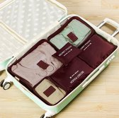 Packing cubes set - koffer of tas organizer - inpak zakken - wijnrood