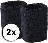 Zwarte pols zweetbandjes 2 stuks