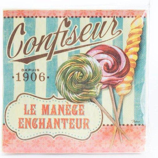 20 servetten - 33x33cm -  Confiseur Le Manége Enchanteur
