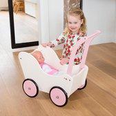 New Classic Toys Houten Poppenwagen met Beddengoed - Créme