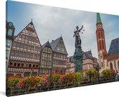 Kleurrijke huizen en bloemen in Frankfurt am Main Canvas 160x80 cm - Foto print op Canvas schilderij (Wanddecoratie woonkamer / slaapkamer) / Europese steden Canvas Schilderijen