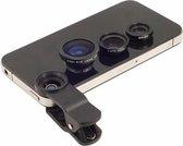 3-in-1 Opzetlens smartphone/tablet - Fish / Macro / Wide Lenzen - Zwart