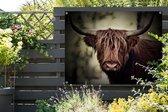 Donkere afbeelding van een Schotse hooglander Tuinposter 160x120 cm - Tuindoek / Buitencanvas / Schilderijen voor buiten (tuin decoratie) XXL / Groot formaat!