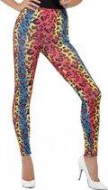 Gekleurde luipaardprint 80s legging verkleed kostuum voor dames - Foute party thema - Verkleedoutfit