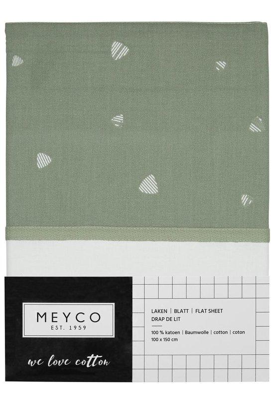Meyco ledikantlaken Sweet triangle - 100x150 - stone green