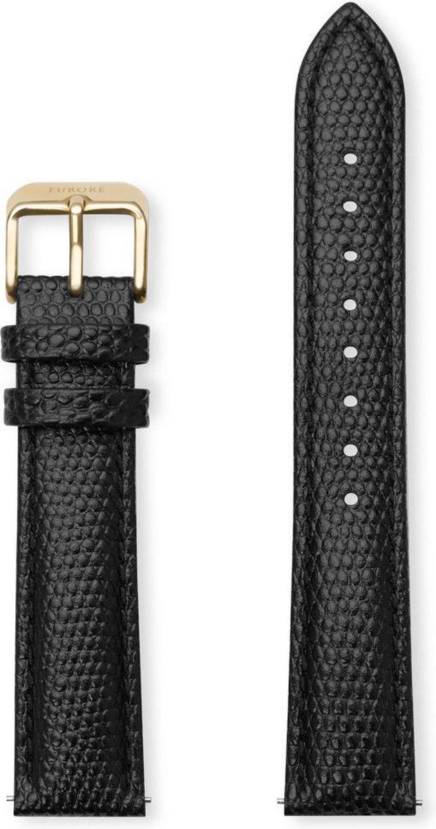 Furore - FS1816 - horlogebandje - 18mm - croco leer - zwart en goud - Furore