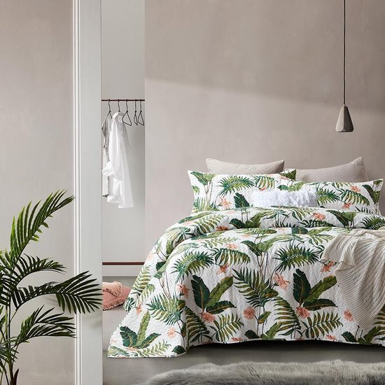 Dreamhouse Botanical - Bedsprei - 260x250 + 2 kussenslopen 60x70 - Wit