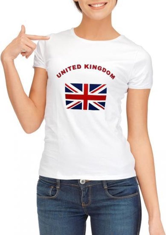 Wit t-shirt United Kingdom voor dames XL