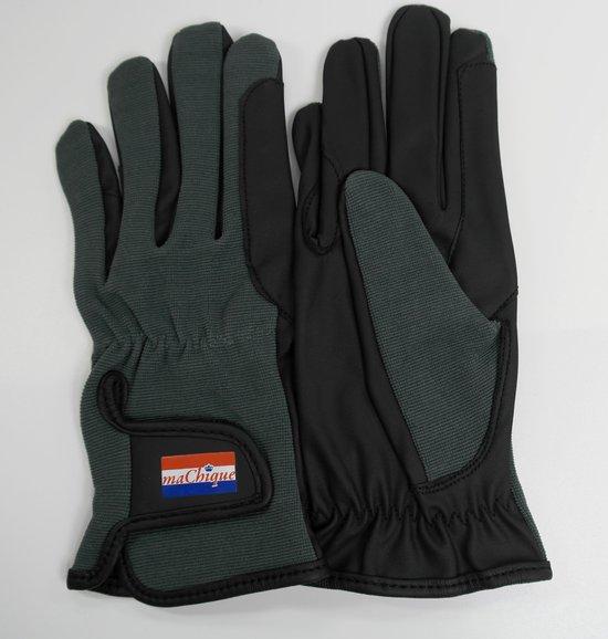 MaChique paardrijhandschoenen zwart/grijs met kunstlederen binnenzijde en katoenen bovenzijde maat M HT5125