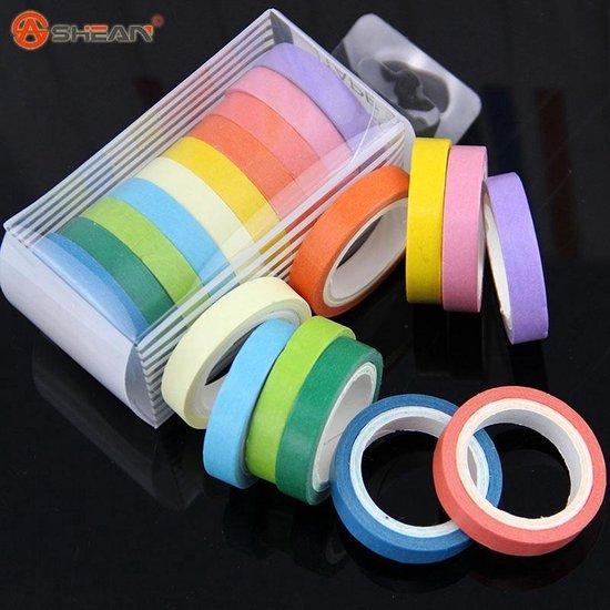 10x Washi Tape Rainbow - Gekleurde Plakband / Masking Decoratie Papier Tape - AA Commerce