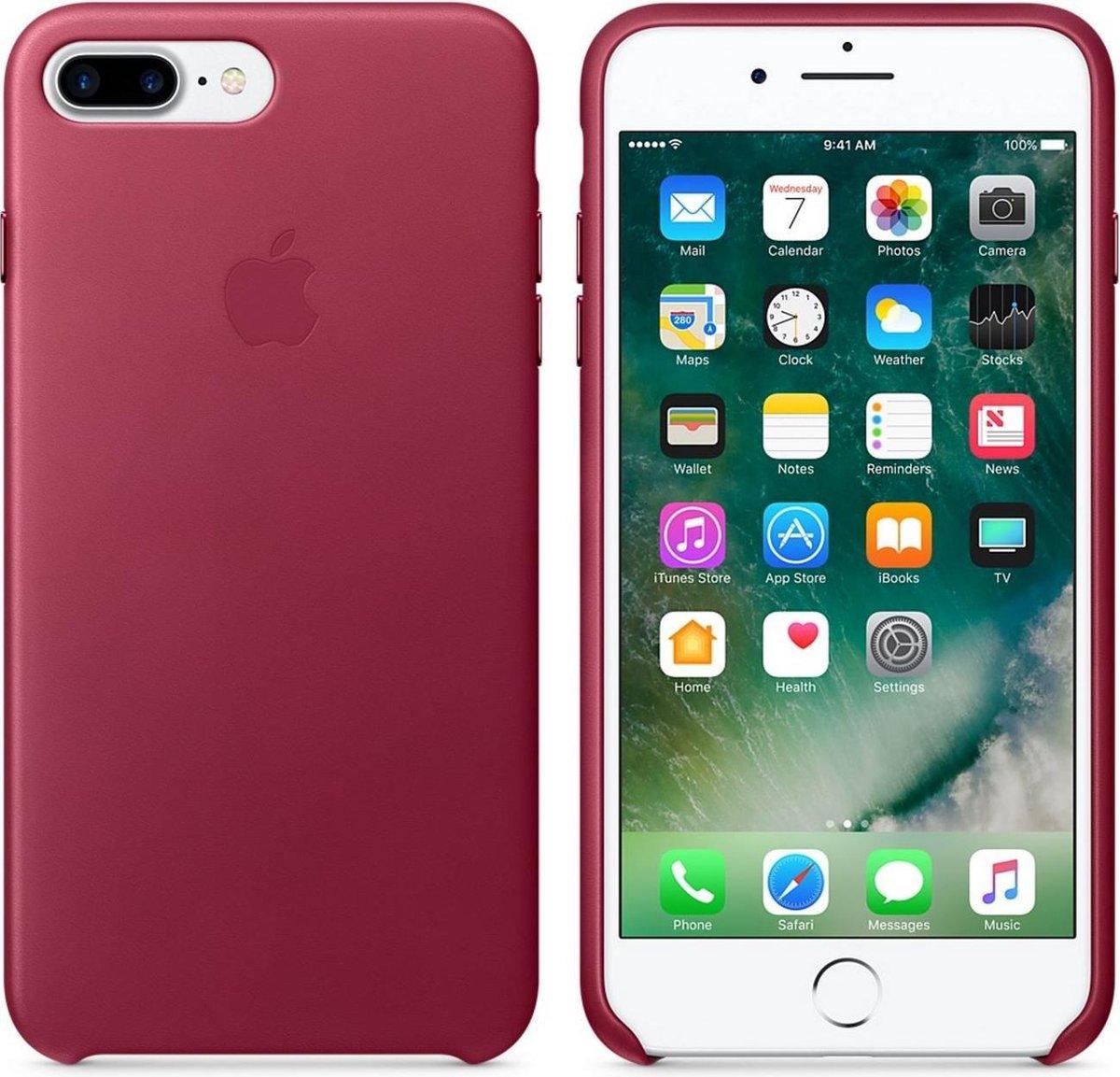 """Apple Leren hoesje - Bessenrood - voor iPhone 7 Plus en iPhone 8 Plus (5,5"""" versies)"""