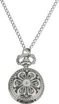 Treasure Trove® Ketting Horloge Opengewerkte Bloem Vrouwen - Dameshorloge - Zilverkleurig - 80cm