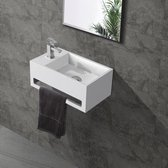 Fontein Toilet - Toiletmeubel Wc Solid Surface - Mat Wit Links 36x16 cm