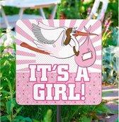 Tuinbord versiering geboorte meisje 44 x 26 cm - Feestartikelen voor buiten