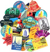 55 retro stickers mix met oude hotel logo's  - UV bestendig, watervast, verwijderbaar - Vintage plaatjes voor koelkast, skateboard, badkamer, koffer etc.