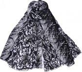 Sjaal met Panterprint - Luipaard - Katoen en Viscose - 180x90 cm - Zwart - Dielay