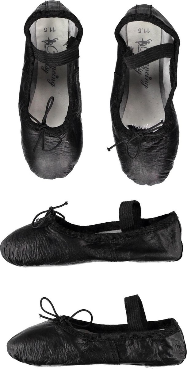 Balletschoen Leer Zwart - (24cm) Schoenmaat 39 - Dancing Daisy