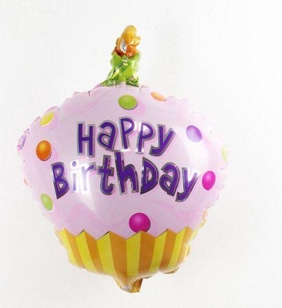 Folieballon Happy birthday Cupcake roze 35x30 cm