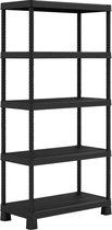 Kunststof opbergrek - 300 kg draagkracht – 5 verstelbare legborden – 90 cm breed – 182 cm hoog - Monteren zonder gereedschap