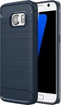 For Samsung Galaxy S7 / G930 Brushed structuur Fiber TPU Rugged Armor beschermings hoesje(donker blauw)