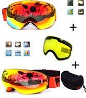 Ski bril met box en EXTRA lens Smoke Red frame Oranje F type 9 Cat. 0 tot 4 - ☀/☁