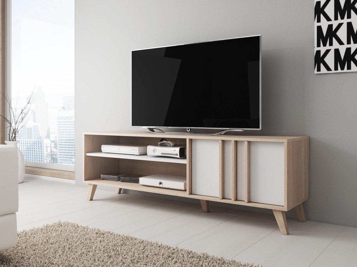 Meubella - TV-Meubel Mira - Wit - Licht eiken - 150 cm - MEUBELLA