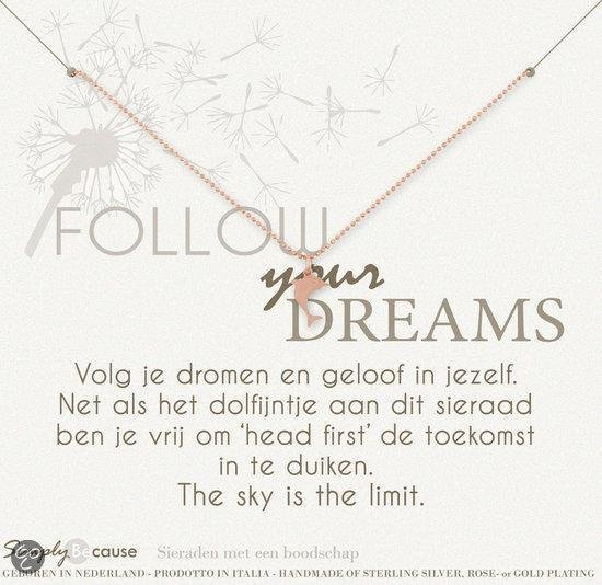 Simply Because Follow your dreams! Ketting (roségoud, bedel dolfijntje) 42 cm