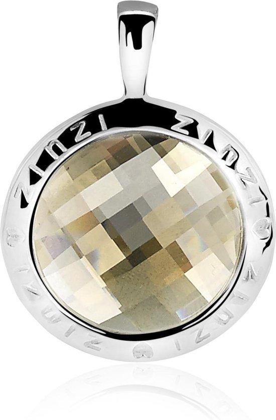 Zinzi zilveren ronde hanger 26mm goldshadow Swarovski ZIH1054