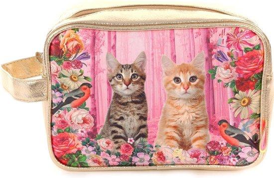 Toilettas  Poezen - Toilettas Cats - Roze  Goudkleurige Toilettas - Kinder Toilettas - 24 x 16 x 9 cm