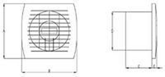   Badkamer ventilator diameter 120 mm WIT met TIMER
