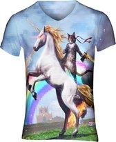 Awesome cat festival shirt Maat: M V-hals