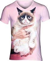 Grumpy cat roze festival shirt Maat: L  V-hals