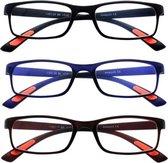 Amazotti Combi Set van 3 kleuren, Super-lichte Trendy Leesbril - sterkte +1.00