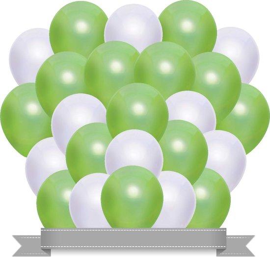 Ballonnen Set Metallic Lichtgroen / Wit (20ST)