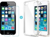 SMH Royal - voor iPhone 5 / 5S Transparant Ultra Dunne TPU Siliconen case Hoesje  +  Tempered Glass Screen Protector