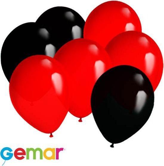 30x Ballonnen Rood en Zwart (Ook geschikt voor Helium)