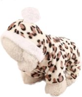 Designer wintertrui - Dieren patroon trui - Honden trui - Warme wintertrui voor honden - Luipaard design - Maat S