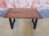 tafel steenschot gelakt met zwarte houten poot