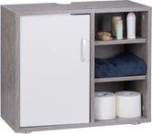 relaxdays wastafelonderkast wit - onderbouwkast badkamer - badkamerkast - 51 x 60 x 32 cm grijs