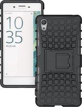 Sony Xperia X - Rugged Hybrid Shockproof case hoesje  - Zwart