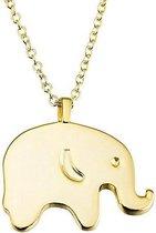 Fate Jewellery Ketting FJ455 - Olifant - 925 Zilver - Goud verguld - 45cm + 5cm