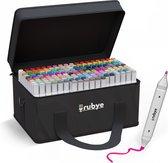 Rubye® Markeerstiften - Dual-Tip Markers - Twinmarkers - Alcohol Markers - Stiften voor Volwassenen - 168 Stuks - Multi