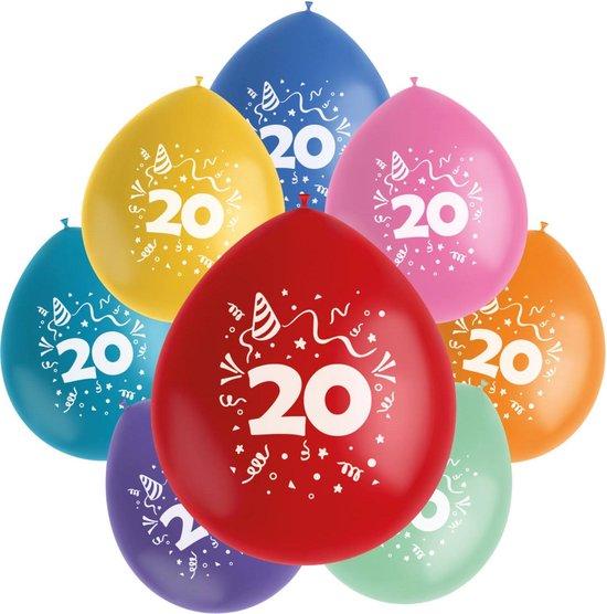 Folat Ballonnen Color Pop 20 Jaar 23 Cm Latex 8 Stuks