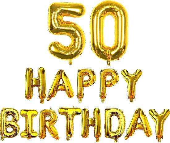 Happy Birthday - Ballonnen - Goud - 50 Jaar - Happy Birthday Slinger - Verjaardag Ballonnen - Happy Birthday Decoratie - Happy Birthday Versiering - Happy Birthday Letters - Fienosa
