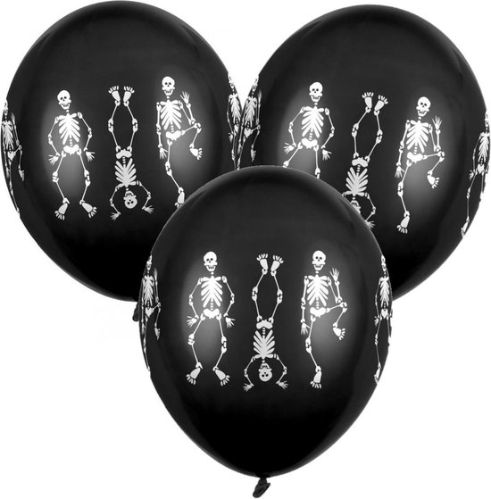 12x Zwarte horror ballonnen skeletten 30 cm - Halloween ballon decoratie en versiering