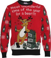 """Foute Kersttrui Dames & Heren - Christmas Sweater """"Most Wonderful Time for a Beer"""" - Kerst trui Mannen & Vrouwen Maat S"""