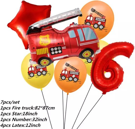 Brandweerwagen Folie Ballon nummer 6 ballonen set 7 delig brandweerwagen