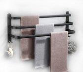 Luxe 3 Laags Handdoekrek - Zelfklevend of boren - Zwart - Eenvoudige Installatie - Badkamer - Handdoekenrek - Handdoekhouder - 60x14x25cm